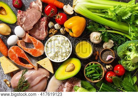 Healthy Eating. Keto Concept, Ingredients For Ketogenic Diet. Various Balanced Useful Components Hea