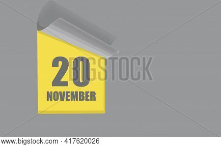 November 20. 20-th Day Of The Month, Calendar Date. Gray Numbers In A Yellow Window, On A Solid Isol