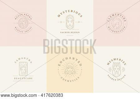 Feminine Logos Emblems Design Templates Set With Magic Woman Portraits Vector Illustrations Minimal
