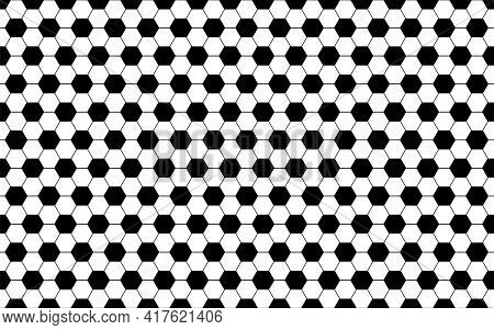 Seamless Football Pattern Background. Vector Model With Black And White Elements