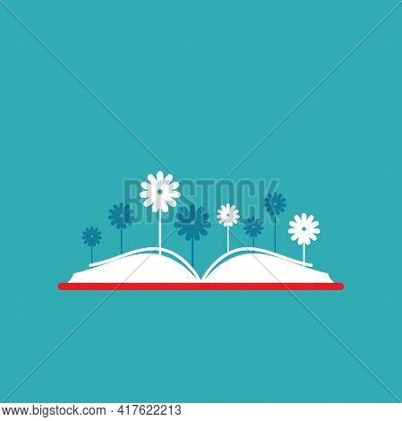 Books With Flowers. Flat Icon Isolated On Blue Background. Reading Icon. Vector Illustration. Idea L