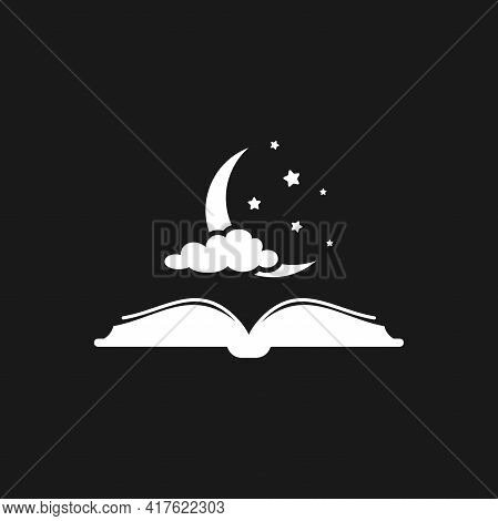Fairytale Bedtime Reading Concept. Open Book With Half Moon, Stars And Cloud. Vector Illustration. M