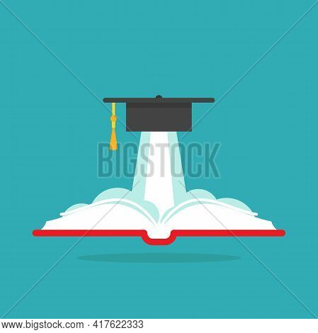 Book With Graduation Cap Or Mortar Board As Rocket. Isolated On Powder Blue Background. Flat Reading