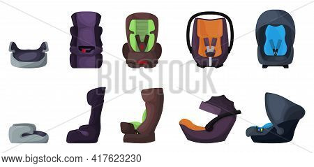 Baby Car Seat Vector Cartoon Set Icon. Vector Illustration Safety Chair On White Background. Isolate