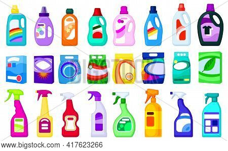 Detergent Vector Illustration On White Background. Isolated Cartoon Set Icon Soap Powder. Vector Car