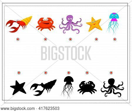 Puzzle Game For Kids Find The Right Shadow. Pick Up A Shadow For The Sea Inhabitants Cancer Crab Oct
