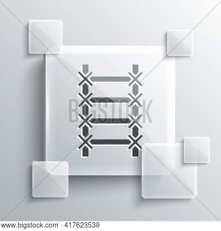 Grey Fire Escape Icon Isolated On Grey Background. Pompier Ladder. Fireman Scaling Ladder With A Pol