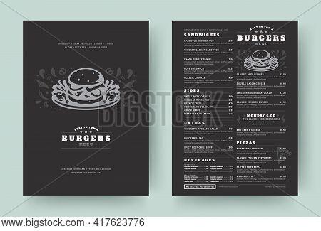 Burger Restaurant Menu Layout Design Brochure Or Food Flyer Template Vector Illustration