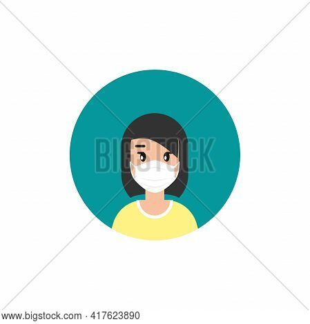 Girl With Medical Mask Avatar. Cute Woman With Black Hair. Flat Icon On White Background. Person Cha
