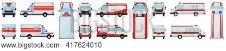 Ambulance Vector Illustration On White Background. Isolated Cartoon Set Icon Car Of Emergency. Vecto