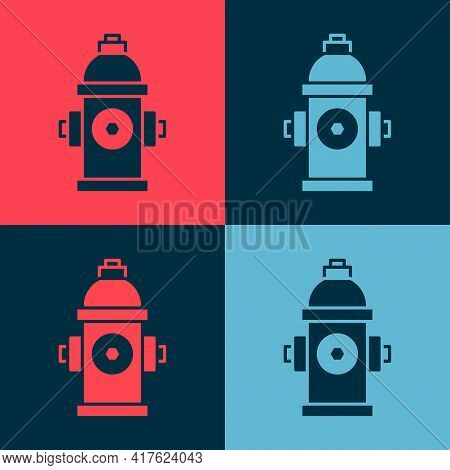 Pop Art Fire Hydrant Icon Isolated On Color Background. Vector