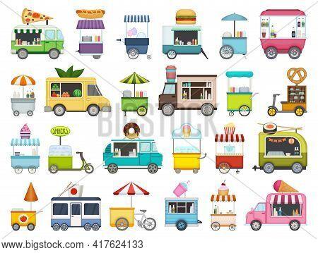 Food Trailer Vector Cartoon Set Icon. Isolated Cartoon Set Icon Van Restaurant.vector Illustration F
