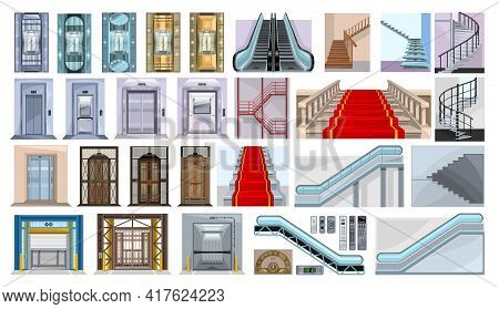 Staircase Of Escalator Vector Illustration On White Background. Isolated Cartoon Set Icon Stairway.