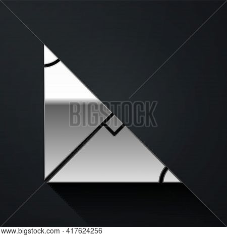 Silver Angle Bisector Of A Triangle Icon Isolated On Black Background. Long Shadow Style. Vector