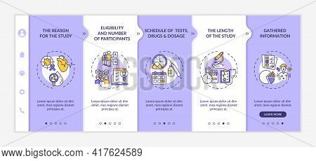 Study Protocol Elements Onboarding Vector Template. Responsive Mobile Website With Icons. Web Page W