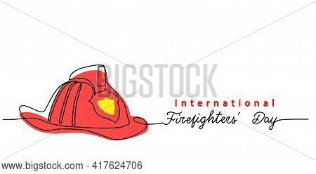 Firefighters Day Simple Web Banner, Poster, Background. Fireman Red Helmet One Continuous Line Drawi