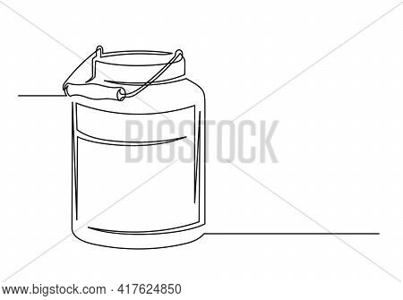 Continuous One Line Drawing Of An Vintage Milk Can. Farm Concept. Vintage Milk Can Isolated On A Whi
