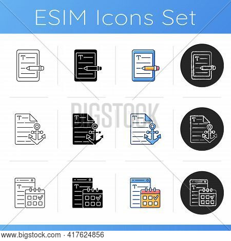 Seo Copywriting Icons Set. E Book Writing. Anchor Text For Website. Deadline For Project. Profession