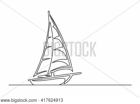 Continuous One Line Drawing Of An Vintage Sailing Yacht. Vintage Sailing Yacht Isolated On A White B