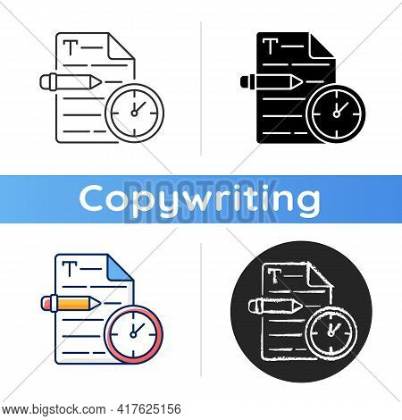 Urgent Copywriting Icon. Fast Copywriting Services. Time Management On Project. Professional Journal