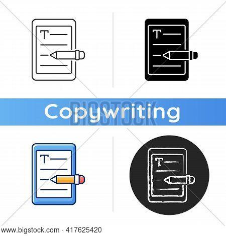 E Book Writing Icon. Editor Work. Copywriting Services. Freelance, Seo Work. Professional Journalist
