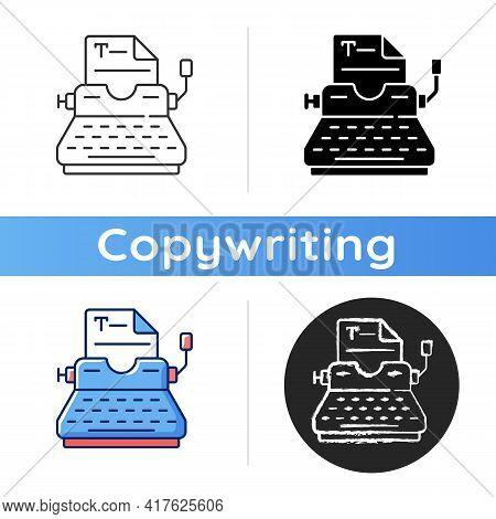 Typewriter Icon. Copywriting Services. Professional Journalism. Printing Sheets. Typing On Keyboard.