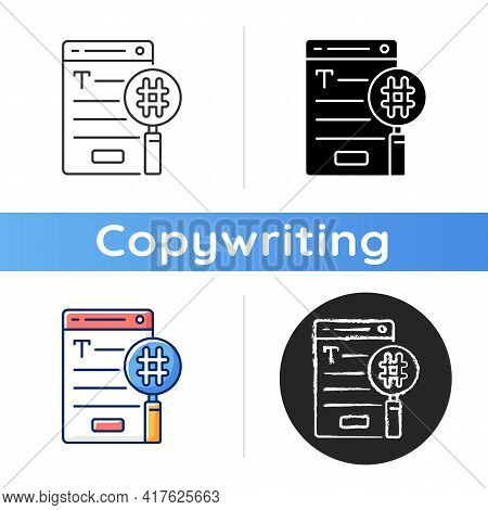 Seo Copywriting Icon. Search Engine Optimization Service. Commercial Text With Hashtags, Keywords Fo