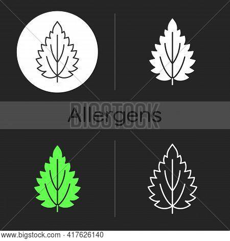 Nettle Dark Theme Icon. Alternative Medicine. Herbal Ingredient For Homeopathy. Seasonal Allergy For