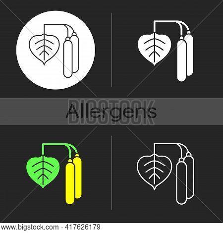 Birch Pollen Dark Theme Icon. Tree Leaf, Botanical Earing. Cause Of Allergic Reaction. Common Allerg