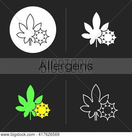Castor Bean Dark Theme Icon. Exotic Flowering Plant. Ricinus Communis. Cause Of Allergic Reaction, H