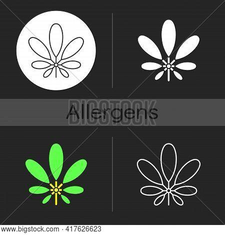 Schefflera Dark Theme Icon. Flowering Plant. Tropical Leaf. Umbrella Tree. Cause Of Allergic Reactio