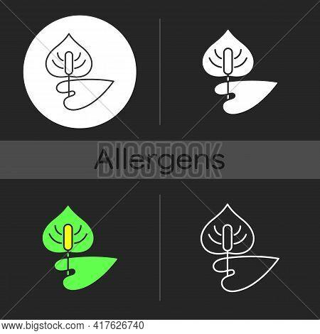Anthurium Dark Theme Icon. Flamingo Flower. Blooming Laceleaf. Cause Of Allergic Reaction. Dangerous
