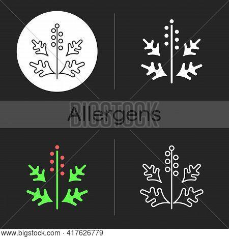 Ragweed Pollen Dark Theme Icon. Blooming Ambrosia. Cause Of Allergic Reaction. Seasonal Allergen. Al