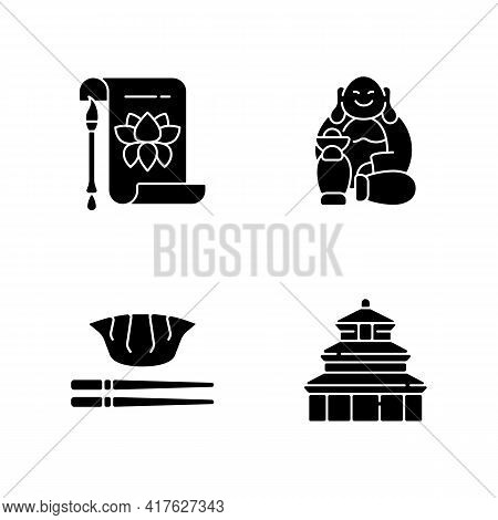 Chinese History Black Glyph Icons Set On White Space. Traditional Calligraphy. Laughing Buddha. Jiao