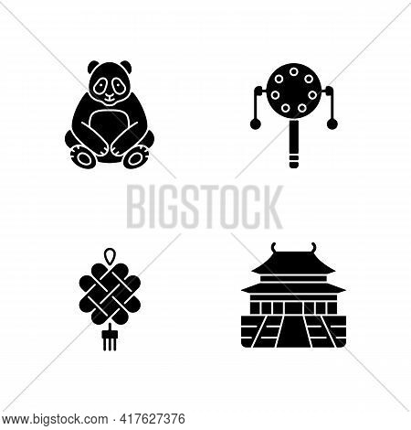 Chinese Culture Black Glyph Icons Set On White Space. Big Panda. Pellet Drum. Chinese Knotting. Forb
