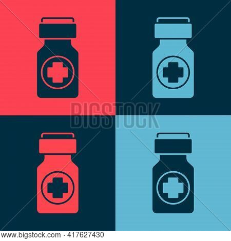 Pop Art Medicine Bottle And Pills Icon Isolated On Color Background. Bottle Pill Sign. Pharmacy Desi