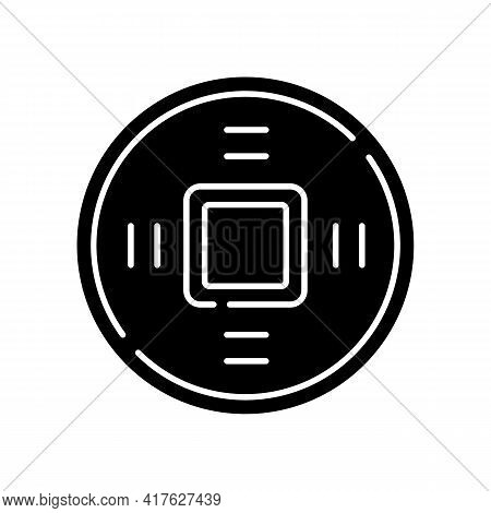 Ancient Chinese Coins Black Glyph Icon. Lucky Charm. Antique Currency. Wish Of Luck And Good Fortune