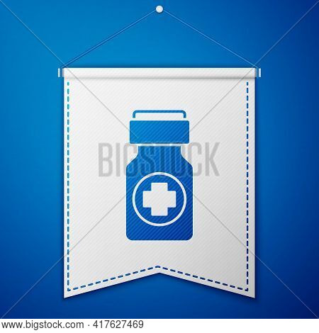Blue Medicine Bottle And Pills Icon Isolated On Blue Background. Bottle Pill Sign. Pharmacy Design.