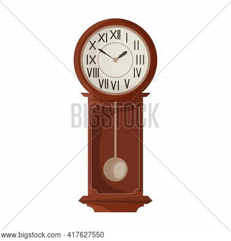 Antique Clock Isolated Cartoon Icon. Vector Illustration Old Watch On White Background. Vector Carto
