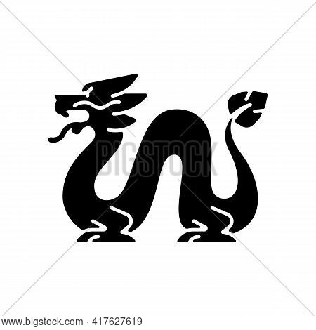 Loong Dragon Black Glyph Icon. Ancient Chinese Traditions. Mythological Creature. Lunar New Year Cel