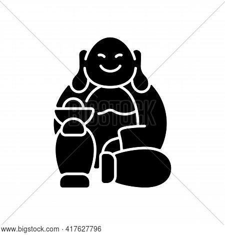 Laughing Buddha Black Glyph Icon. Pray For Prosperity, Wealth. Chinese Traditions. Spirituality, Rel