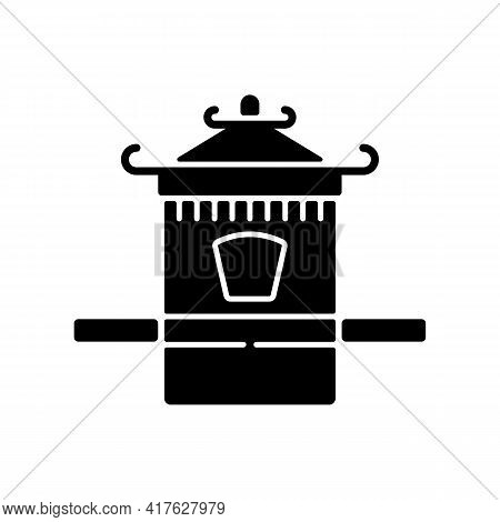 Chinese Sedan Chair Black Glyph Icon. Traditional Wedding Ceremony. Ancient Vehicle For Transportati
