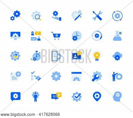 Settings And Preferences Icons Set For Personal And Business Use. Vector Illustration Icons For Grap