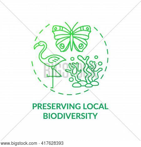 Preserving Local Biodiversity Concept Icon. Green Hotel Features. Approaches To Regulate Human Every