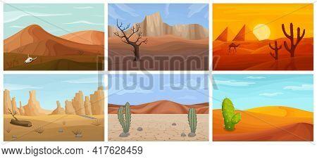 Landscape Of Desert Vector Cartoon Set Icon. Isolated Cartoon Set Icon Sahara.vector Illustration La