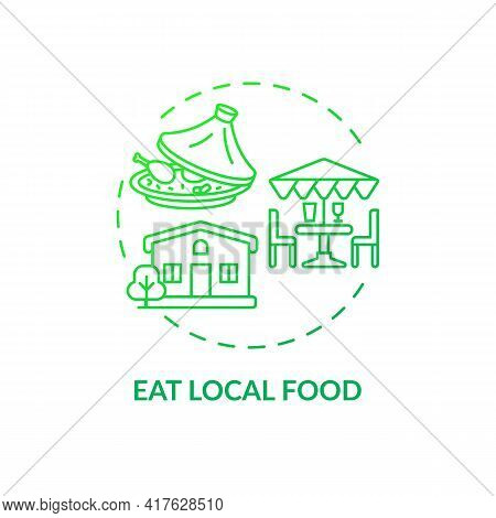 Eat Local Food Concept Icon. Sustainable Tour Tips. Food Produced Within Short Area Distance Of Wher