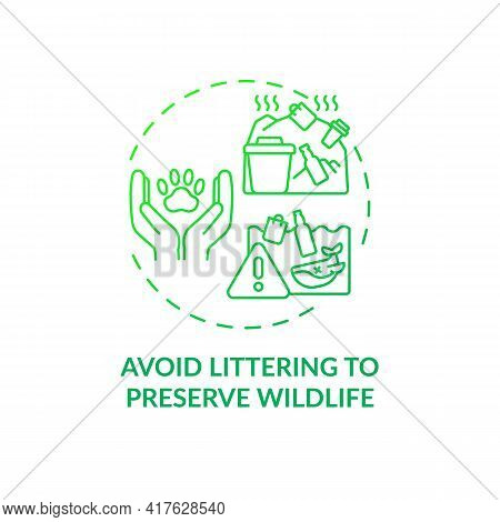 Avoid Littering To Preserve Wildlife Concept Icon. Sustainable Tour Tips. People Damaging Local Ecos