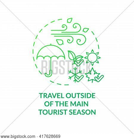 Travel Outside Of The Main Tourist Season Concept Icon. Sustainable Tourism Ideas. Dealing With Tour