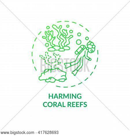 Harming Coral Reefs Concept Icon. Green Tourism Challenges. Diver Destroy Under Ocean Natural Enviro