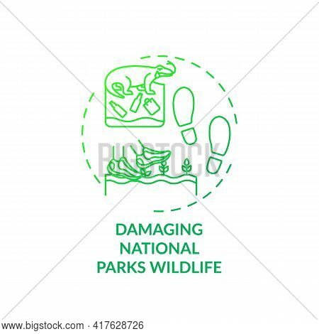 Damaging National Parks Wildlife Concept Icon. Green Tourism Challenges. Polluting Natural Habitats